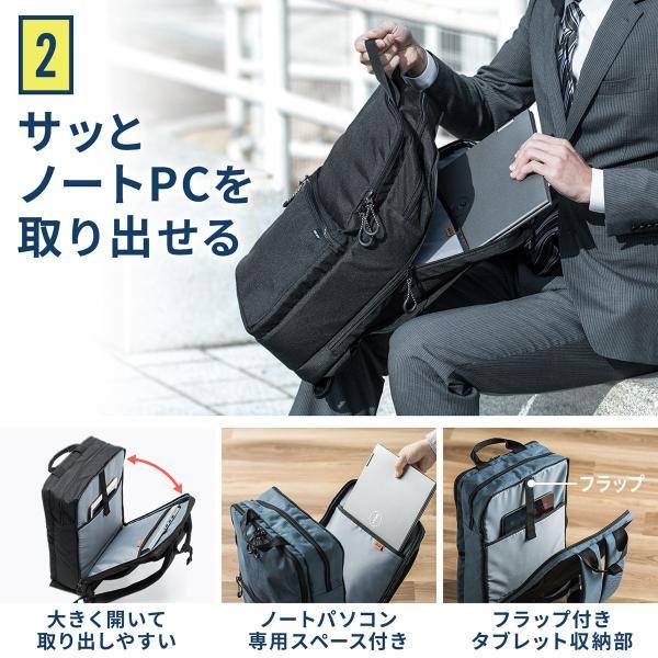 ビジネスリュック メンズ リュック 大容量 軽量 3層式 リュックサック スリム パソコンバッグ PC対応(即納) sanwadirect 04