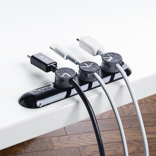ケーブルホルダー 磁石 マグネットホルダー3個入り 両面テープ貼り付け ケーブル落下防止 ブラック|sanwadirect|09