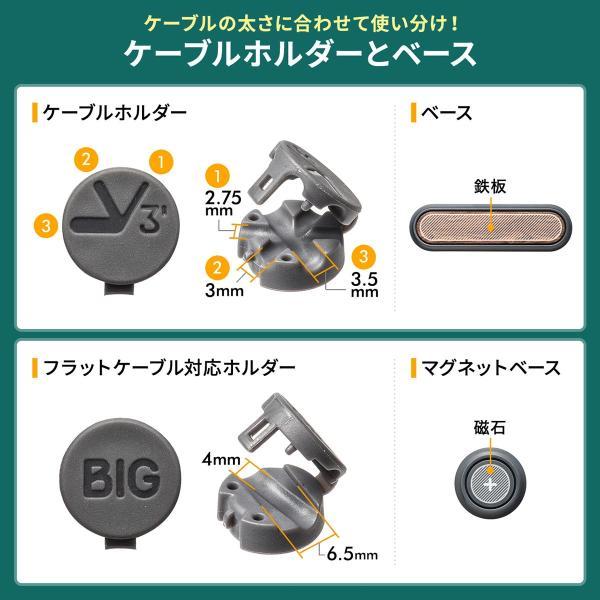ケーブルホルダー 磁石 マグネットホルダー3個入り マグネットベース 両面テープ貼り付け ケーブル落下防止 フラットケーブル(即納)|sanwadirect|03