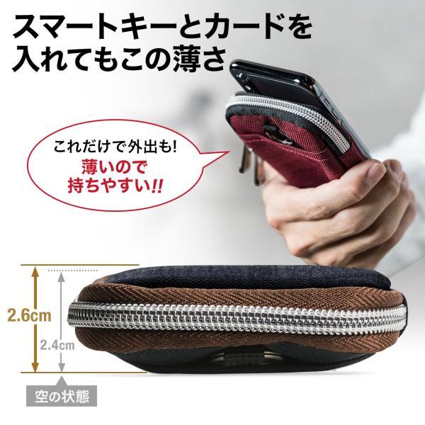 キーケース メンズ キーカバー スマートキー 鍵 収納 インテリジェント キーケース 2個 収納 車 カー用品 高耐久 おしゃれ コンパクト(即納)|sanwadirect|10