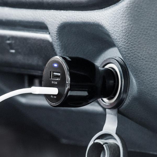 シガーソケット USB カーチャージャー 車載充電器 iPhone スマホ 2ポート 急速充電 2台同時 Power Delivery 18W対応 自動車 携帯 車 充電(即納)|sanwadirect|12