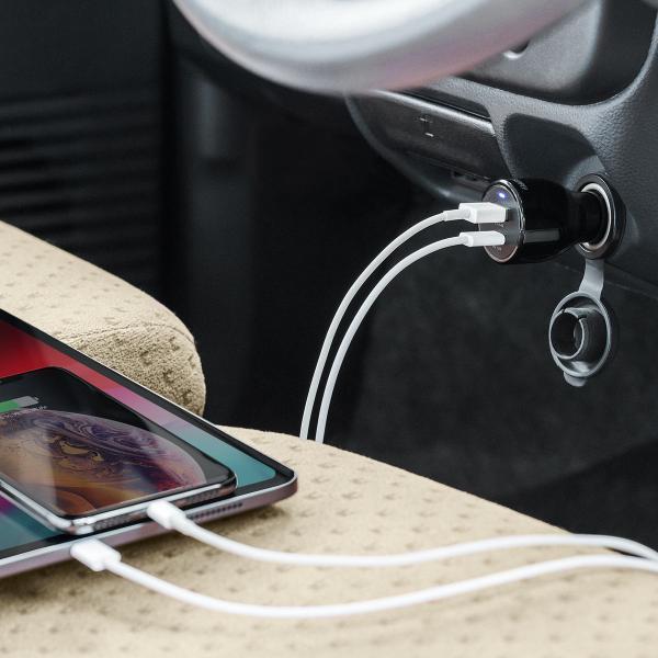 シガーソケット USB カーチャージャー 車載充電器 iPhone スマホ 2ポート 急速充電 2台同時 Power Delivery 18W対応 自動車 携帯 車 充電(即納)|sanwadirect|13