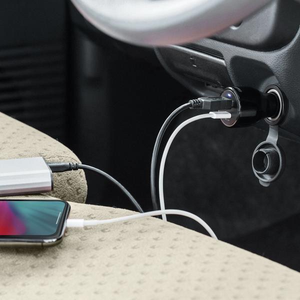 シガーソケット USB カーチャージャー 車載充電器 iPhone スマホ 2ポート 急速充電 2台同時 Power Delivery 18W対応 自動車 携帯 車 充電(即納)|sanwadirect|18