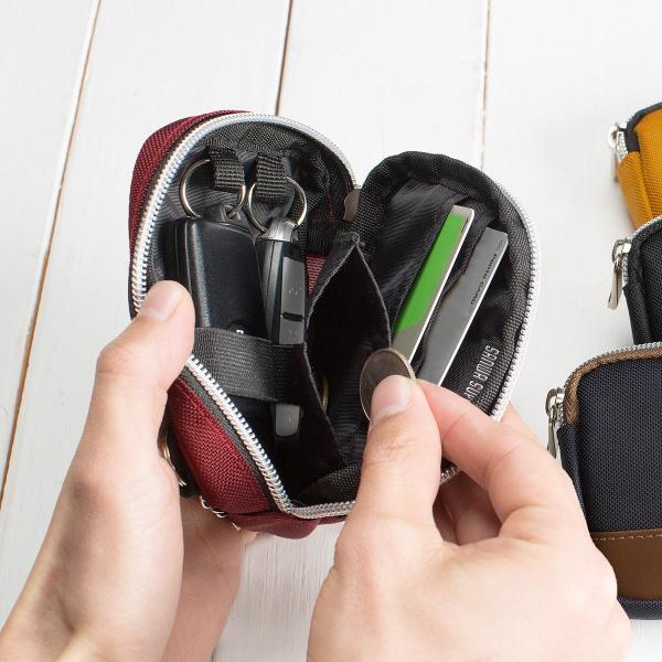 スマートキーケース キーケース 鍵 キー 2個収納 カード 収納 小銭入れ コインケース キーリング 2個 カラビナフック(即納)|sanwadirect|19