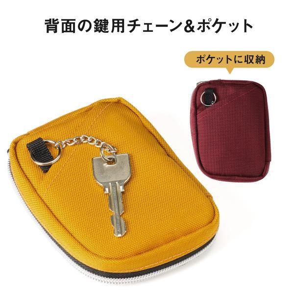 スマートキーケース キーケース 鍵 キー 2個収納 カード 収納 小銭入れ コインケース キーリング 2個 カラビナフック(即納)|sanwadirect|09