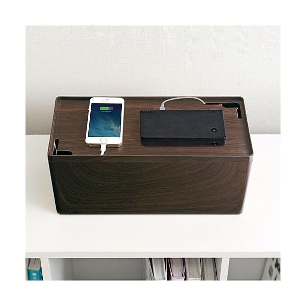 ケーブルボックス ケーブル収納 コードケース 収納 木目柄 スマホ iPhone(即納)|sanwadirect|07
