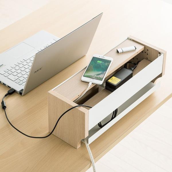ケーブル 収納 ケーブルボックス コンセント 充電スタンド(即納)|sanwadirect|15