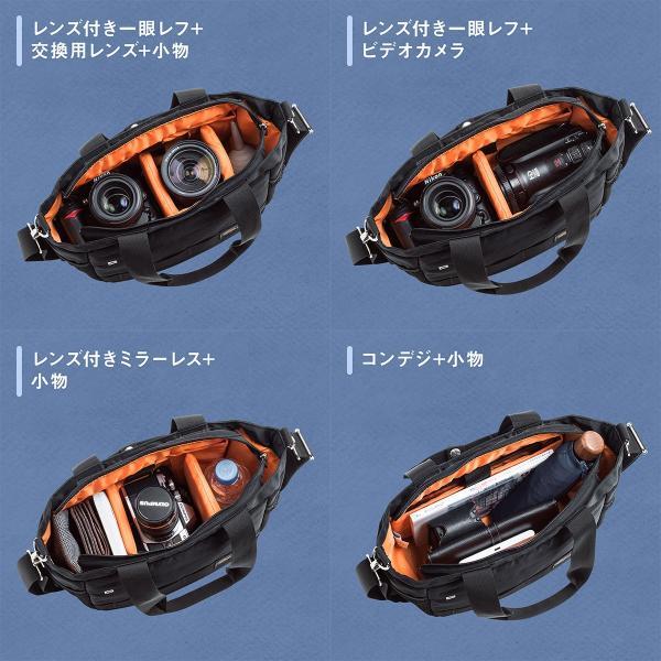 カメラバッグ 一眼レフ ショルダー カメラ 大容量 ミラーレス一眼 アルファ トート 斜め掛け 鞄 かばん 肩掛け(即納)|sanwadirect|09