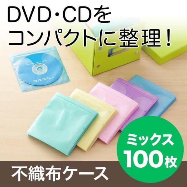 CDケース DVDケース 不織布ケース 両面収納 5色ミックス 紙のように軽量 スリム(即納)|sanwadirect