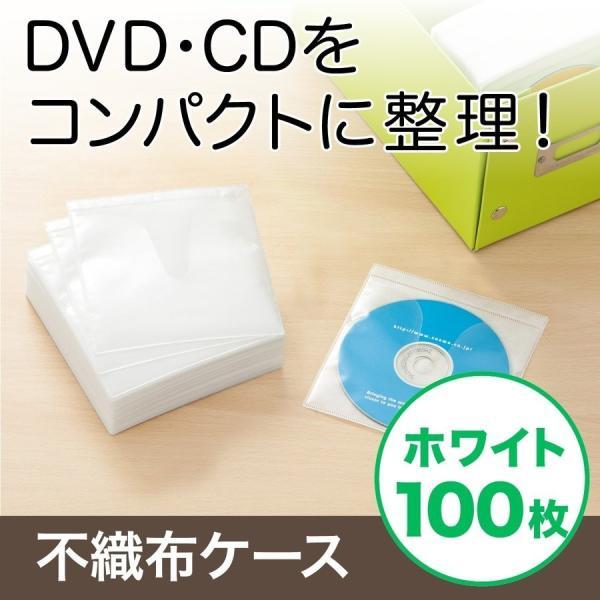 CDケース DVDケース 不織布ケース 両面収納 ホワイト 紙のように軽量 スリム(即納)|sanwadirect