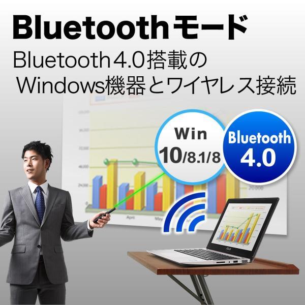 レーザーポインター グリーン レーザー パワーポイント Bluetooth 4.0 レーザーポインタ(即納)|sanwadirect|03