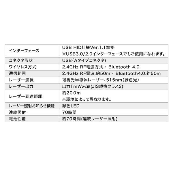 レーザーポインター グリーン 緑 レーザーポインタ 70時間 長寿命 長持ち エメラルドグリーン 明るい パワーポイント Bluetooth PSC認証(即納)|sanwadirect|12
