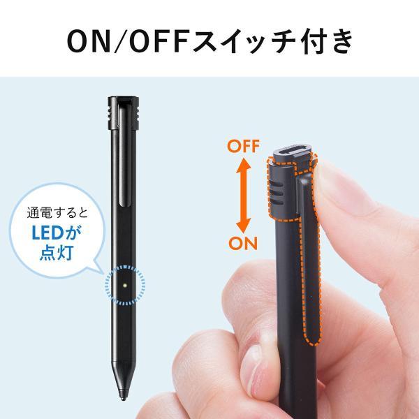 タッチペン スマホ iPhone 充電式タッチペン スタイラスペン 充電式 microUSB 充電 薄型 アイフォン iPad(即納)|sanwadirect|06