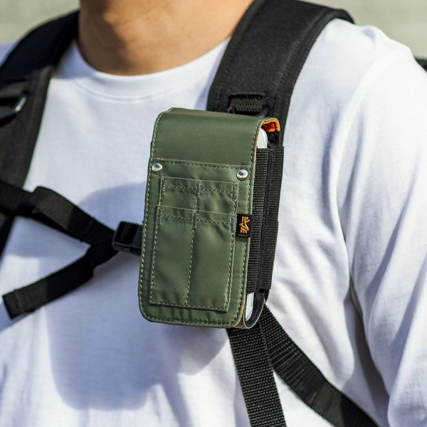 ベルトポーチ メンズ スマホ iPhone ベルトケース ヒップバック 収納ポーチ iQOS デジカメ カラビナ付 MA-1生地 ダブルタイプ (即納)|sanwadirect|17