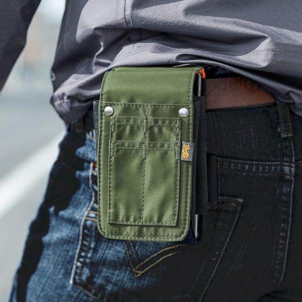 ベルトポーチ メンズ スマホ iPhone ベルトケース ヒップバック 収納ポーチ iQOS デジカメ カラビナ付 MA-1生地 ダブルタイプ (即納)|sanwadirect|19