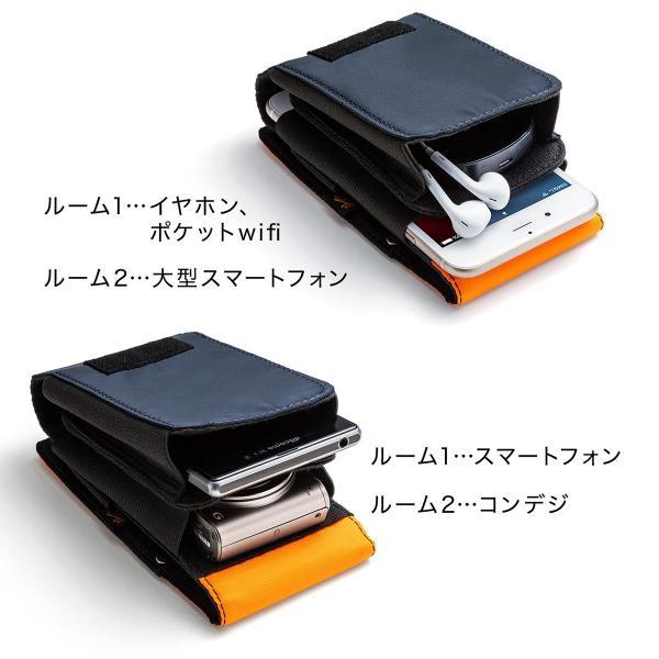 ベルトポーチ メンズ スマホ iPhone ベルトケース ヒップバック 収納ポーチ iQOS デジカメ カラビナ付 MA-1生地 ダブルタイプ (即納)|sanwadirect|06