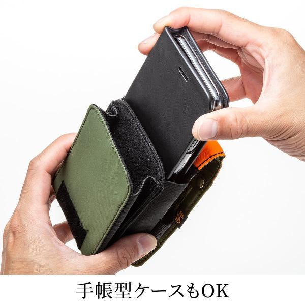 ベルトポーチ メンズ スマホ iPhone ベルトケース ヒップバック 収納ポーチ iQOS デジカメ カラビナ付 MA-1生地 ダブルタイプ (即納)|sanwadirect|07
