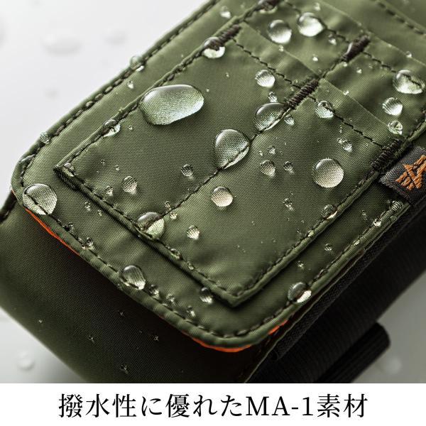 ベルトポーチ メンズ スマホ iPhone ベルトケース ヒップバック 収納ポーチ iQOS デジカメ カラビナ付 MA-1生地 ダブルタイプ (即納)|sanwadirect|10