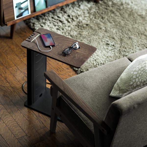 ソファ サイドテーブル デスク サイドテーブル USB充電器 収納タイプ 木目 コンパクト(即納) sanwadirect 19