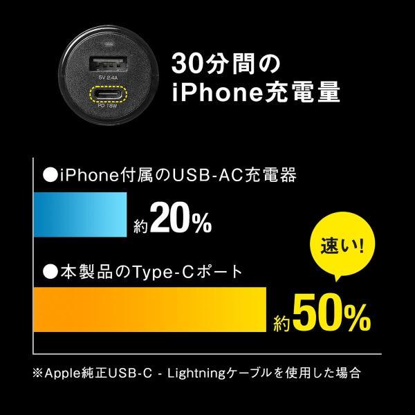 シガーソケット USB カーチャージャー 車載充電器 iPhone スマホ 2ポート 急速充電 2台同時 Power Delivery 自動車 携帯 充電 Type-C ケーブル付き(即納)|sanwadirect|03