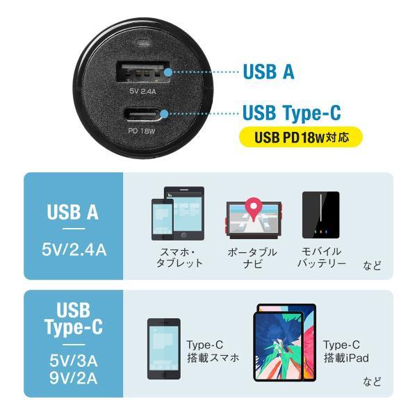 シガーソケット USB カーチャージャー 車載充電器 iPhone スマホ 2ポート 急速充電 2台同時 Power Delivery 自動車 携帯 充電 Type-C ケーブル付き(即納)|sanwadirect|06