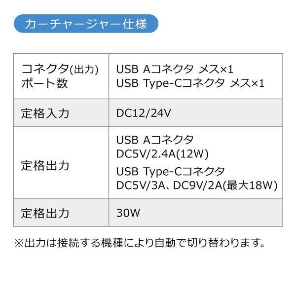 シガーソケット USB カーチャージャー 車載充電器 iPhone スマホ 2ポート 急速充電 2台同時 Power Delivery 自動車 携帯 充電 Type-C ケーブル付き(即納)|sanwadirect|10