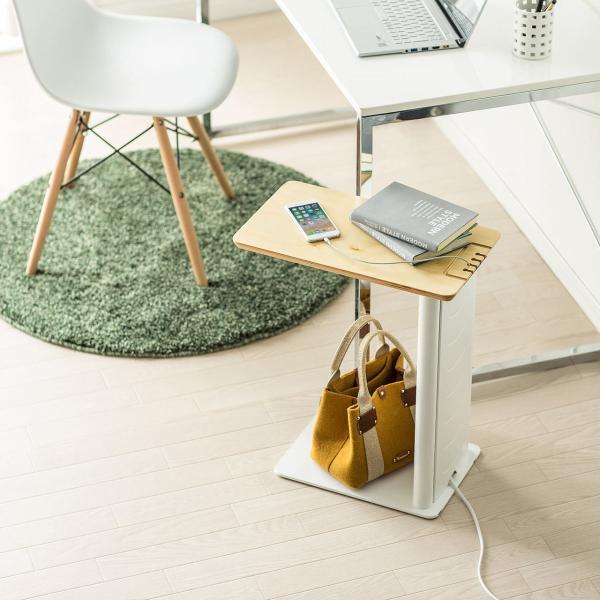 ソファサイドテーブル デスクサイドテーブル 700-AC015付属 天然木/スチール使用 コンパクト|sanwadirect|15
