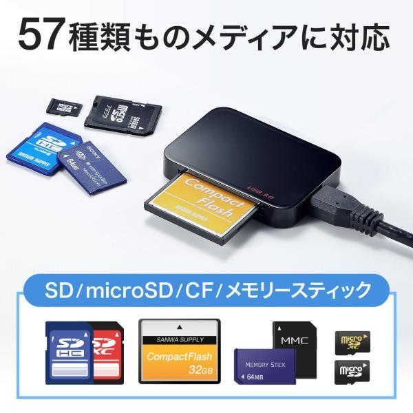 カードリーダー コンパクト CFカード microSD SDカード コンパクトフラッシュ(即納)|sanwadirect|02
