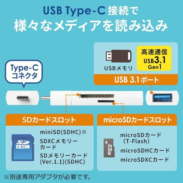 USB Type-C カードリーダー SD microSD USB3.1 ハブ Mac カードリーダー(即納)|sanwadirect|02