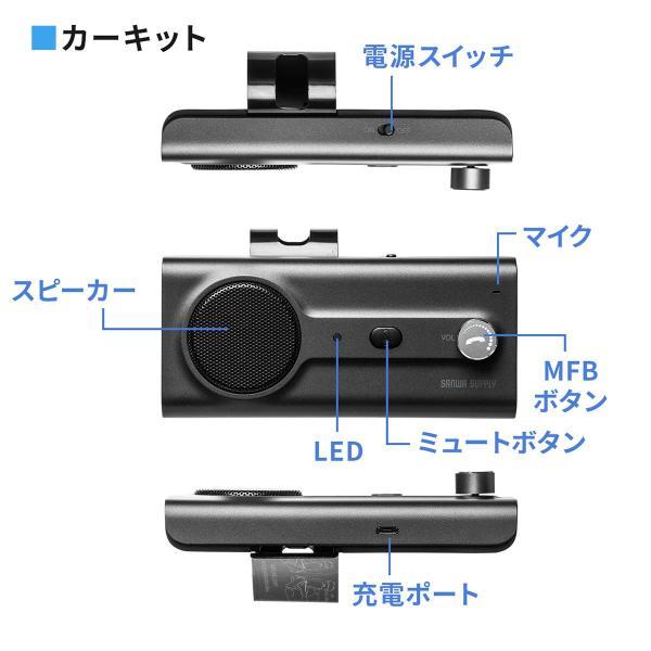 自動車用 ハンズフリー 通話 車載用品 車載ハンズフリー 長時間 通話 Bluetooth iPhone スマホ 自動車用 車中泊グッズ ブルートゥース(即納) sanwadirect 12