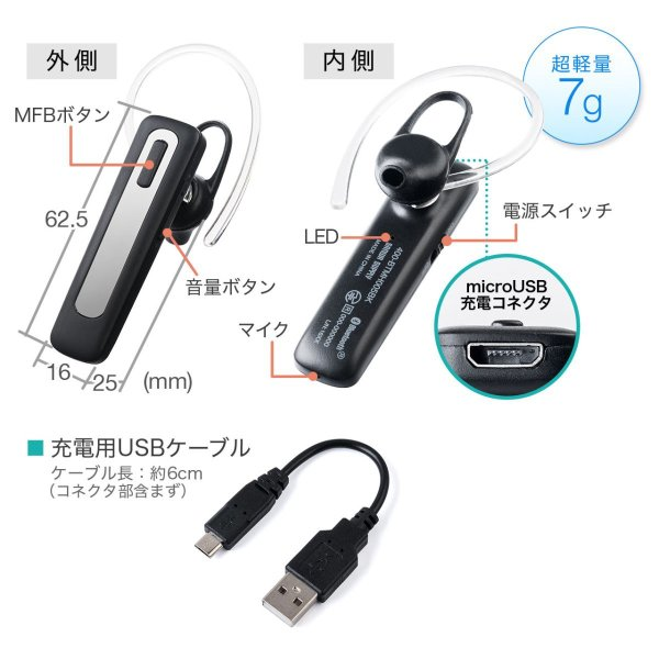 ワイヤレス イヤホン Bluetooth ハンズフリー 自動車用 通話 イヤフォン iPhone スマホ ブルートゥース 片耳(即納)|sanwadirect|09