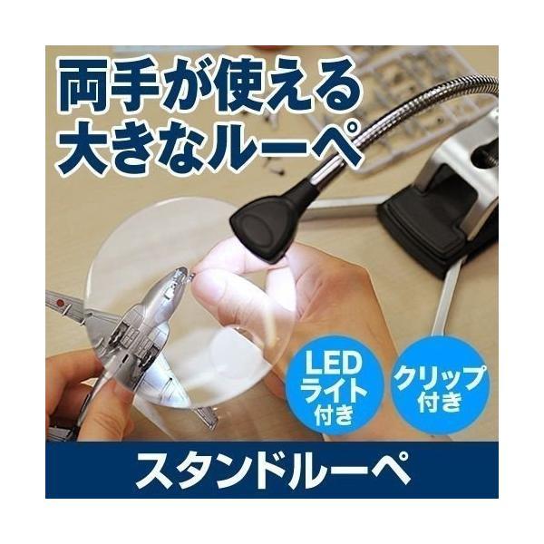 スタンドルーペ 拡大鏡 ルーペ スタンド 虫眼鏡 LEDライト付き クリップ レンズ径9cm 電池駆動