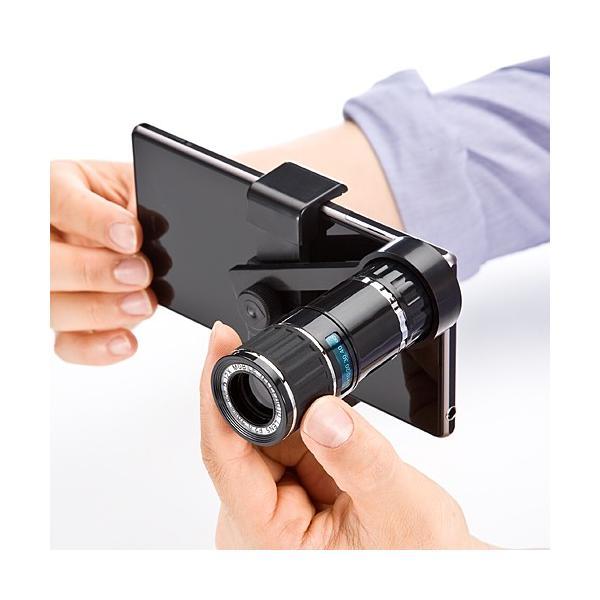 スマホレンズ iPhone スマホ望遠レンズキット 12倍 汎用タイプ 三脚付(即納)|sanwadirect|10