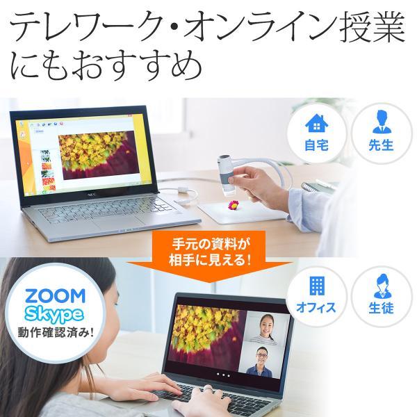 デジタル顕微鏡 マイクロスコープ USB 200万画素 最大250倍 デジタルマイクロスコープ 動画撮影(即納)|sanwadirect|03