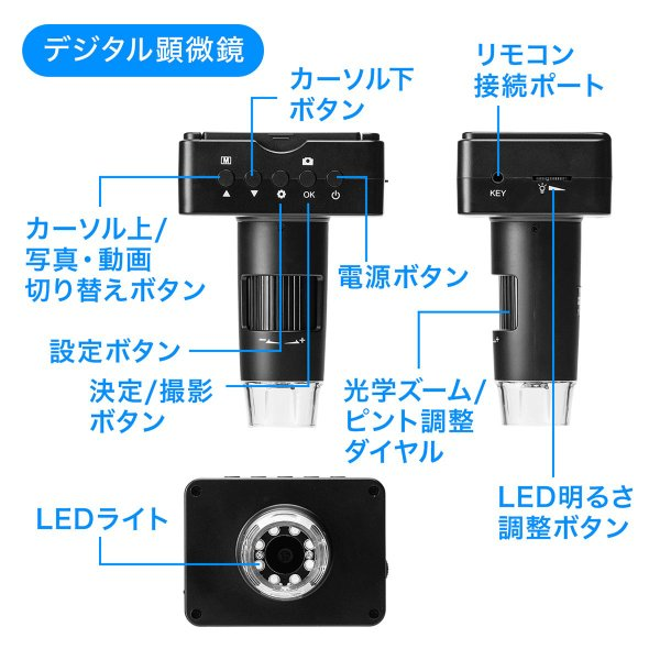 デジタル顕微鏡 マイクロスコープ 電子顕微鏡 最大220倍 光学ズーム デジタルズーム 液晶 モニター付き 持ち運び モバイル HDMI出力 小型 コンパクト(即納)|sanwadirect|10