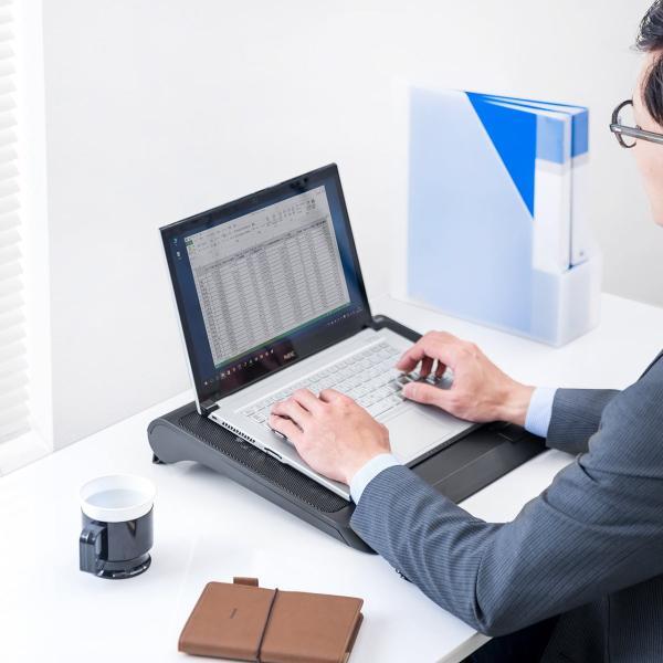 ノートパソコンクーラー 冷却台 静音 17インチ対応 5ファン USB給電 無段階風量調節 3段階角度調節|sanwadirect|17