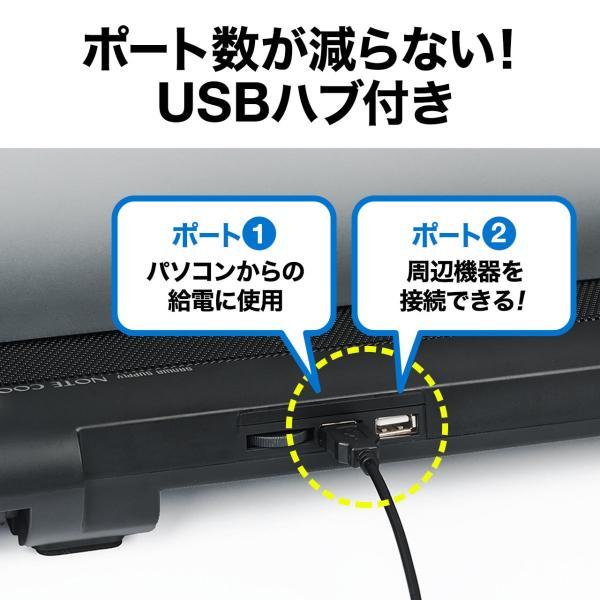 ノートパソコンクーラー 冷却台 静音 17インチ対応 5ファン USB給電 無段階風量調節 3段階角度調節|sanwadirect|07
