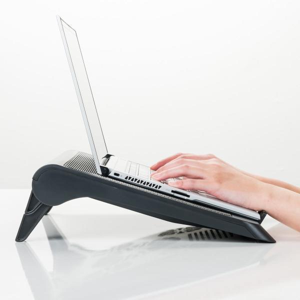 ノートパソコンクーラー 冷却台 静音 17インチ対応 5ファン USB給電 無段階風量調節 3段階角度調節|sanwadirect|10