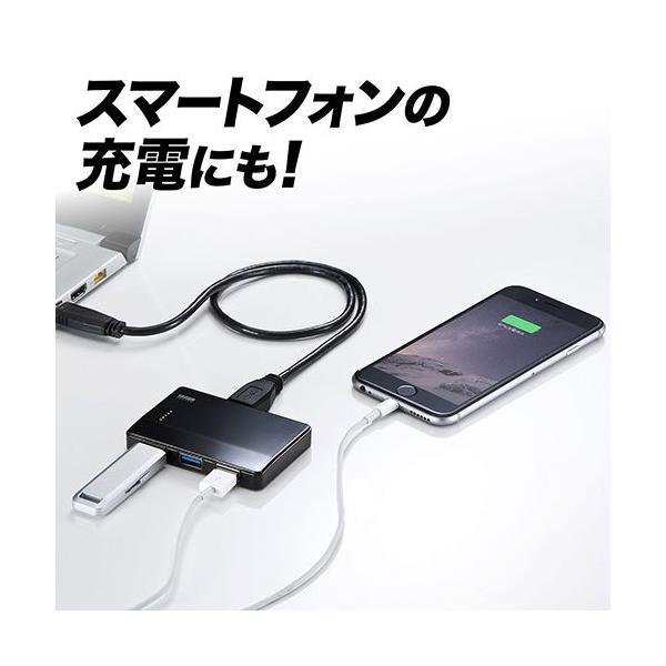 USB3.0ハブ 4ポート バスパワー PS4対応 薄型 独立ポート付 ブラック(即納)|sanwadirect|04