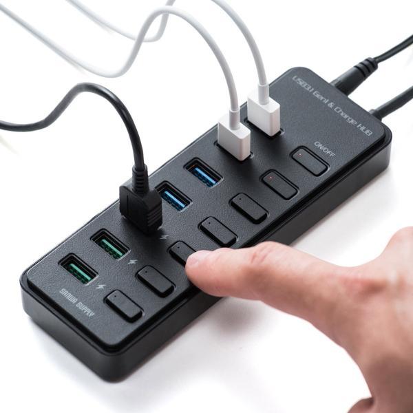 USBハブ 7ポート セルフパワー 高速 USB3.1 Gen1 充電 スイッチ付き(即納)|sanwadirect|18