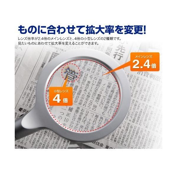 ルーペ 手持ち 拡大鏡 LEDライト付 2.4倍&4倍|sanwadirect|02