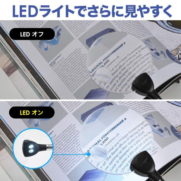 スタンドルーペ 拡大鏡 LEDライト クリップ(即納)|sanwadirect|05
