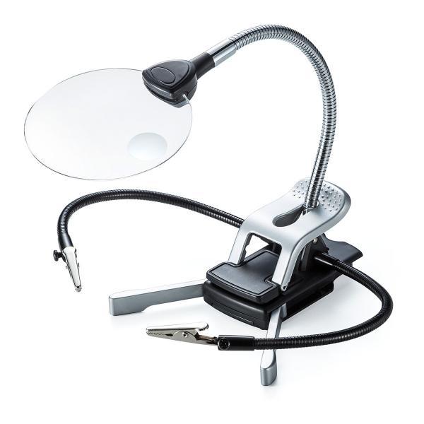 スタンドルーペ 拡大鏡 LEDライト クリップ(即納)|sanwadirect|09