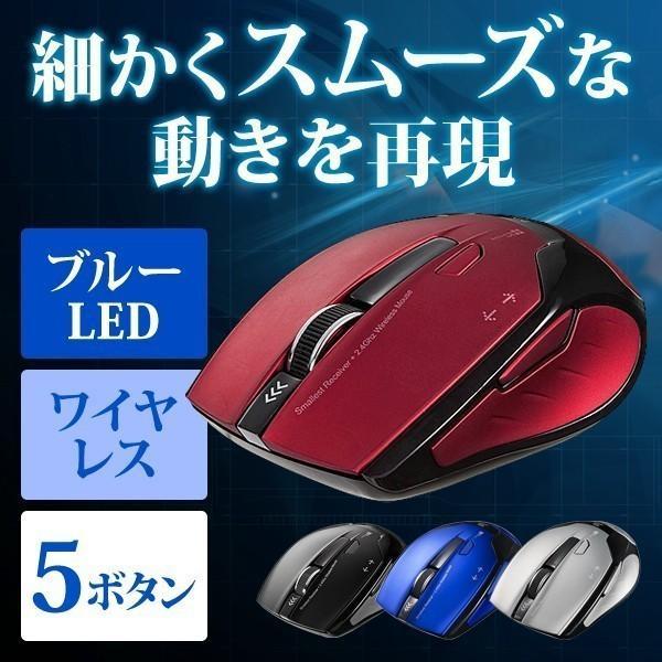 ワイヤレスマウス マウス 無線 ブルーLED 5ボタン(即納)|sanwadirect