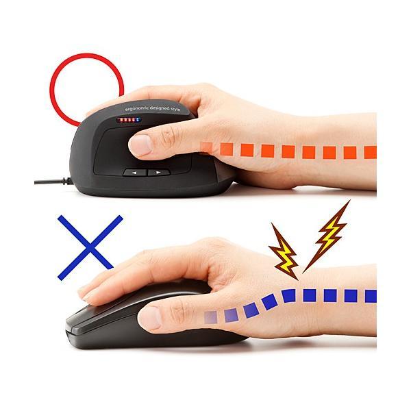 レーザーマウス 有線 腱鞘炎になりにくい エルゴノミクス設計 5ボタン(即納)|sanwadirect|04