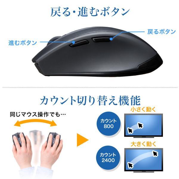 マウス ワイヤレス 無線 静音 5ボタン|sanwadirect|05