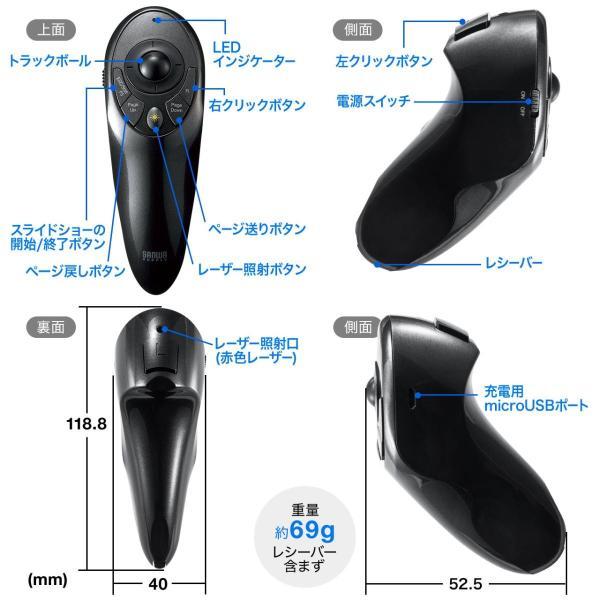 プレゼンテーションマウス トラックボール ワイヤレス レーザーポインター(即納)|sanwadirect|13