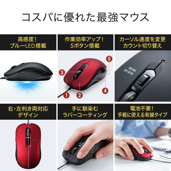 有線マウス ブルーLEDセンサー 6ボタン DPI切替 ラバーコーティング(即納) sanwadirect 03