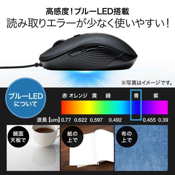 有線マウス ブルーLEDセンサー 6ボタン DPI切替 ラバーコーティング(即納) sanwadirect 04