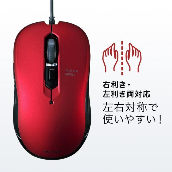 有線マウス ブルーLEDセンサー 6ボタン DPI切替 ラバーコーティング(即納) sanwadirect 09